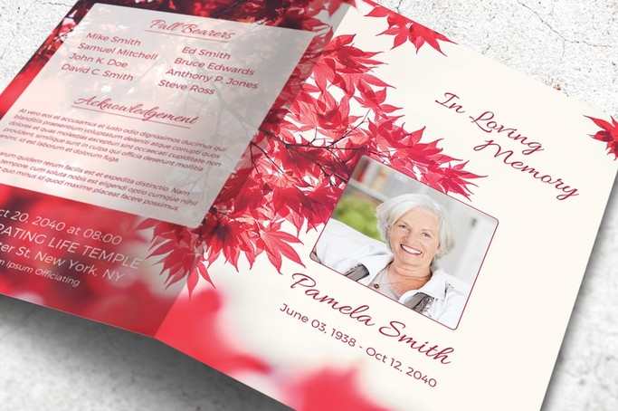 red automn leaves funeral template