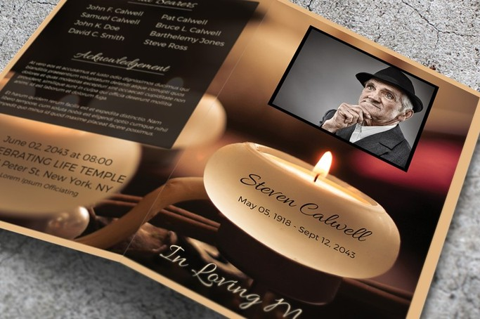 Memorial booklet candles