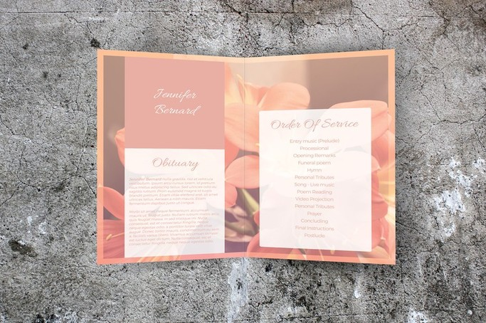 floral order of service template