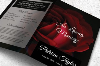 black and white memorial program