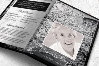 black and white memorial program