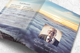 clouds funeral program template